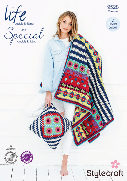 Stylecraft 9528 - Crochet Boho Blanket & Cushion Cover in Life & Special DK Pattern