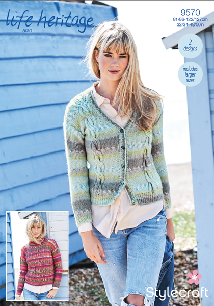 Stylecraft 9570 - Cabled Sweater & Cardigan Pattern in Life Heritage Aran
