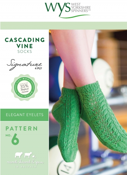 West Yorkshire Spinners Cascading Vine Sock Pattern - The Crafty Knitter Ltd - 1