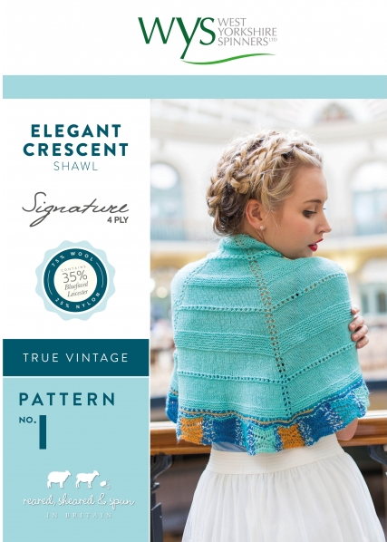 West Yorkshire Spinners Elegant Crescent Shawl Pattern - The Crafty Knitter Ltd - 1