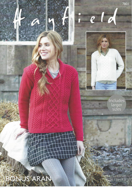 Hayfield 7801 - Ladies Sweaters in Bonus Aran Pattern - The Crafty Knitter