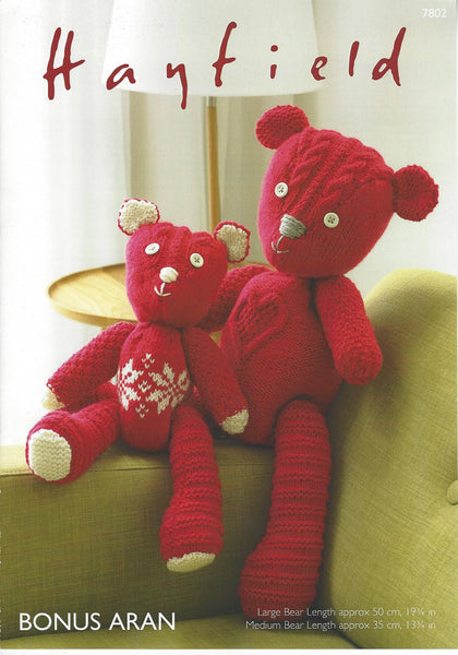 Hayfield 7802 - Toy Bears in Bonus Aran Pattern - The Crafty Knitter