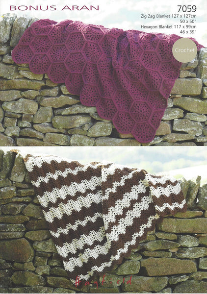Hayfield 7059 - Crochet Blankets in Bonus Aran Pattern - The Crafty Knitter
