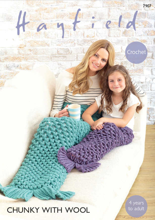 Hayfield 7907 - Mermaid Tail Blankets in Super Chunky with Wool Crochet Pattern - The Crafty Knitter