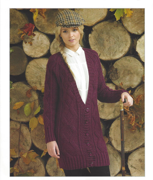 James C Brett JB098 - Ladies Cardigan in Aran Pattern - The Crafty Knitter