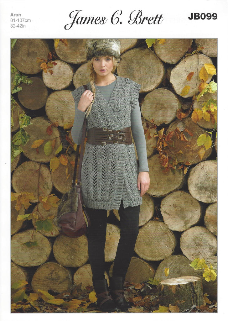James C Brett JB099 - Ladies Waistcoat in Aran Pattern - The Crafty Knitter