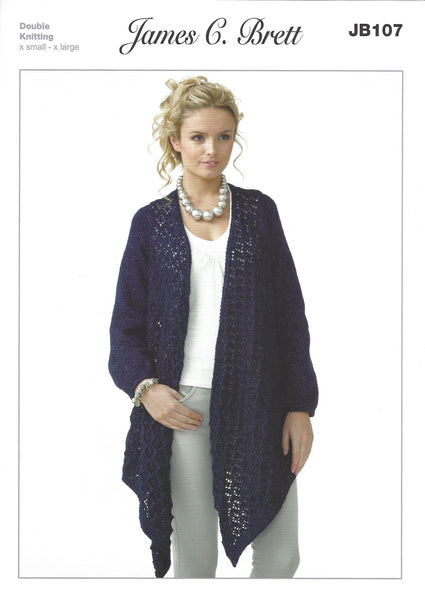 James C Brett JB107 - Ladies Cardigan in DK Pattern - The Crafty Knitter Ltd - 1