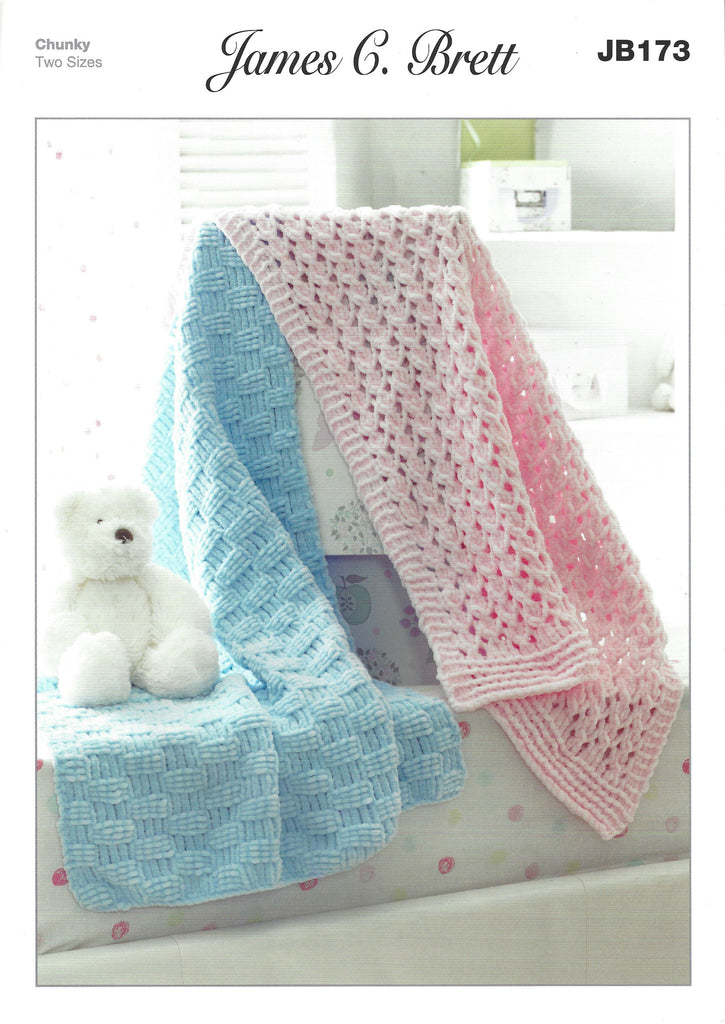 James C Brett JB173 - Blankets in Flutterby Chunky Pattern - The Crafty Knitter Ltd - 1