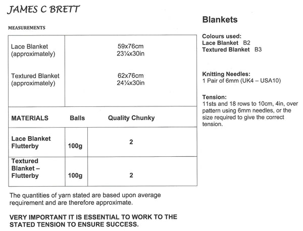 James C Brett JB173 - Blankets in Flutterby Chunky Pattern - The Crafty Knitter Ltd - 3