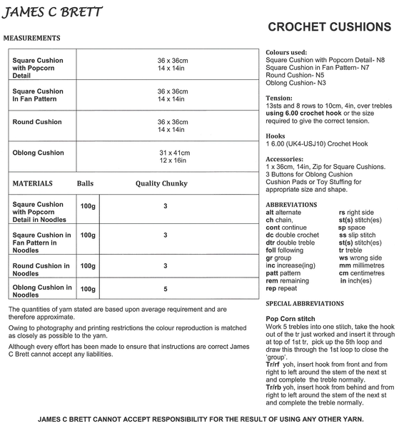 James C Brett JB330 - Crochet Cushions in Chunky Pattern - The Crafty Knitter Ltd - 2