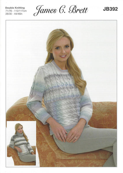 James C Brett JB392 - Ladies Sweater in DK Pattern - The Crafty Knitter Ltd - 1