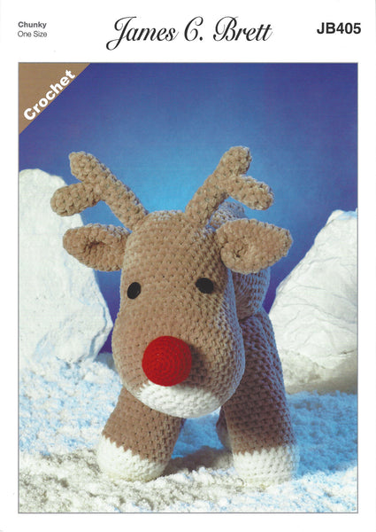 James C Brett JB405 - Rudolf the Reindeer in Flutterby Crochet Pattern - The Crafty Knitter Ltd - 1