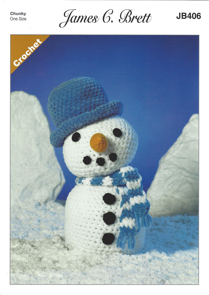 James C Brett JB406 - Frosty the Snowman in Flutterby Crochet Pattern - The Crafty Knitter Ltd - 1