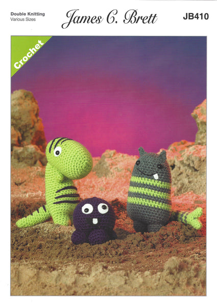 James C Brett JB410 - Magic Monsters 1 in DK Crochet Pattern - The Crafty Knitter Ltd - 1