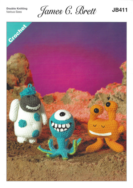 James C Brett JB411 - Magic Monsters 2 in DK Crochet Pattern - The Crafty Knitter Ltd - 1