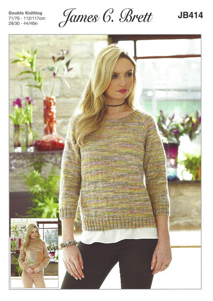 James C Brett JB414 - Ladies Sweaters in DK Pattern