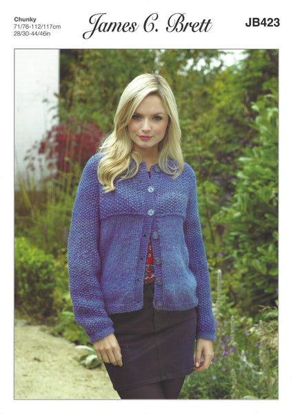 James C Brett JB423 - Ladies Jacket / Cardigan in Chunky Pattern - The Crafty Knitter Ltd - 1