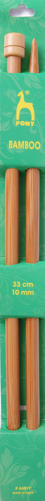 Pony Bamboo Single Ended Knitting Pins - 33cm x 10.00mm - 66819 - The Crafty Knitter