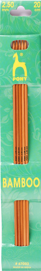 Pony Bamboo Double Ended Knitting Pins - 20cm x 2.50mm - 67003 - The Crafty Knitter