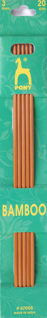 Pony Bamboo Double Ended Knitting Pins - 20cm x 3.00mm - 67005 - The Crafty Knitter