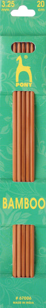 Pony Bamboo Double Ended Knitting Pins - 20cm x 3.25mm - 67006 - The Crafty Knitter