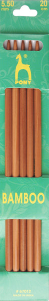 Pony Bamboo Double Ended Knitting Pins - 20cm x 5.50mm - 67012 - The Crafty Knitter