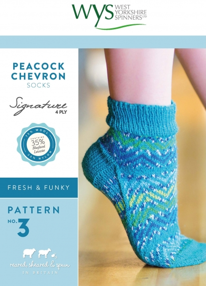 West Yorkshire Spinners Peacock Chevron Sock Pattern - The Crafty Knitter Ltd - 1