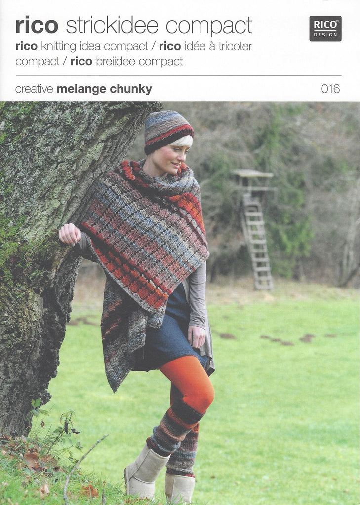 Rico 016 - Ladies Hat, Scarf & Leg Warmers in Rico Creative Melange Chunky Pattern - The Crafty Knitter