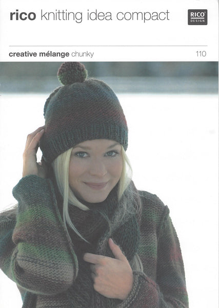 Rico 110 - Ladies Sweater & Hat in Rico Creative Melange Chunky Pattern - The Crafty Knitter