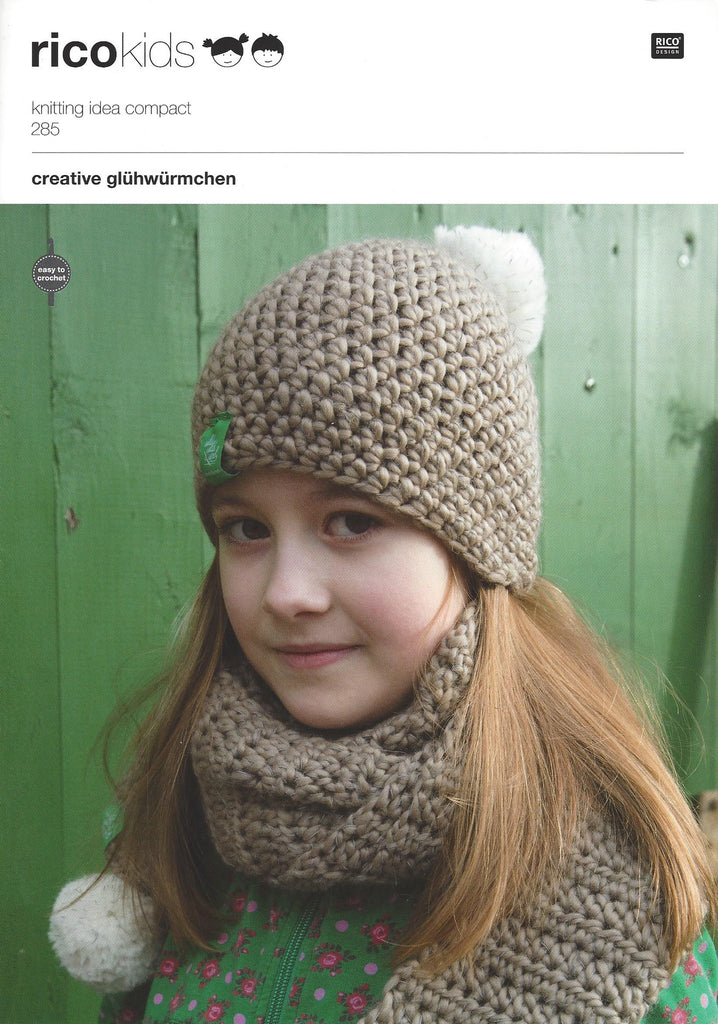 Rico 285 Childrens Hats Scarves In Rico Glowworm Pattern The