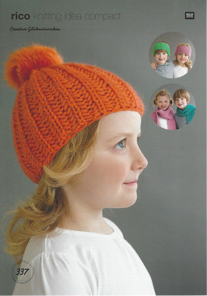 Rico 337 - Childrens Hats & Scarves in Rico Glowworm Pattern - The Crafty Knitter Ltd - 1
