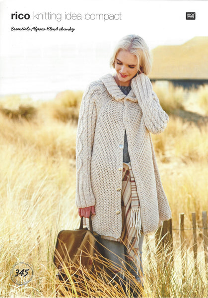 Rico 345 - Ladies Coat in Rico Essentials Alpaca Blend Chunky Pattern - The Crafty Knitter Ltd - 1