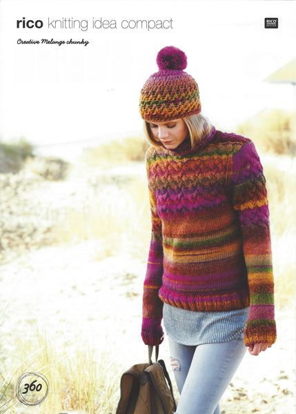 Rico 360 - Ladies Sweater & Hat in Rico Creative Melange Chunky Pattern - The Crafty Knitter Ltd - 1