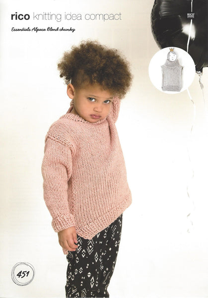 Rico 451 - Childrens Slipover & Sweater in Rico Essentials Alpaca Blend Chunky Pattern - The Crafty Knitter