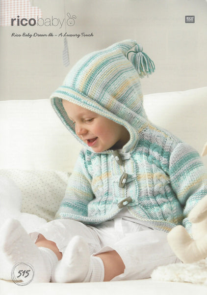 Rico 515 - Babies Cabled Jackets in Rico Baby Dream DK Pattern - The Crafty Knitter
