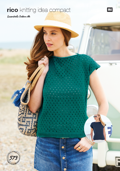 Rico 573 - Ladies Top in Rico Essentials Cotton DK Pattern - The Crafty Knitter