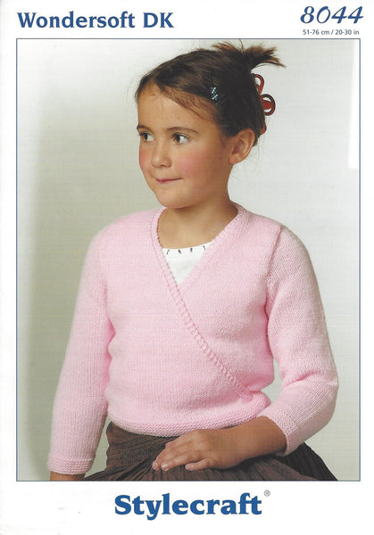 Stylecraft 8044 - Childrens Ballet Tops in Wondersoft DK Pattern - The Crafty Knitter