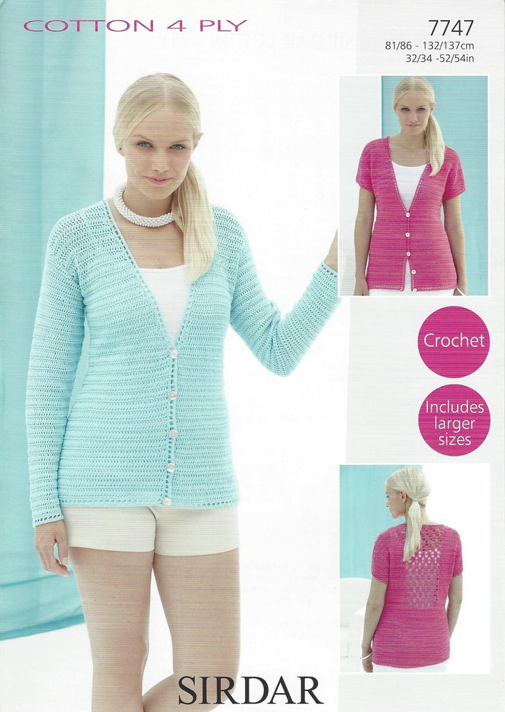 Sirdar 7747 - Ladies Cardigans in Sirdar Cotton 4 Ply Pattern - The Crafty Knitter