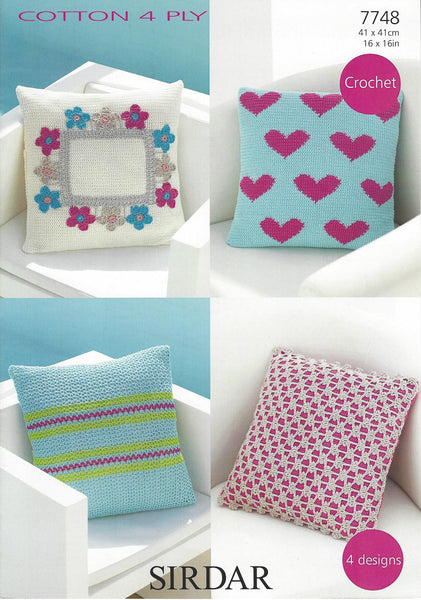 Sirdar 7748 - Crochet Cushion Covers in Sirdar Cotton 4 Ply Pattern - The Crafty Knitter