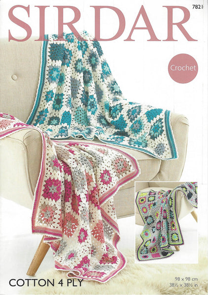 Sirdar 7821 - Crochet Blankets in Sirdar Cotton 4 Ply Pattern - The Crafty Knitter