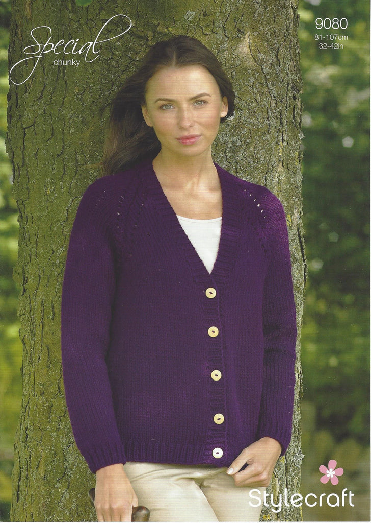 Stylecraft 9080- Ladies Cardigan in Special Chunky Pattern - The Crafty Knitter