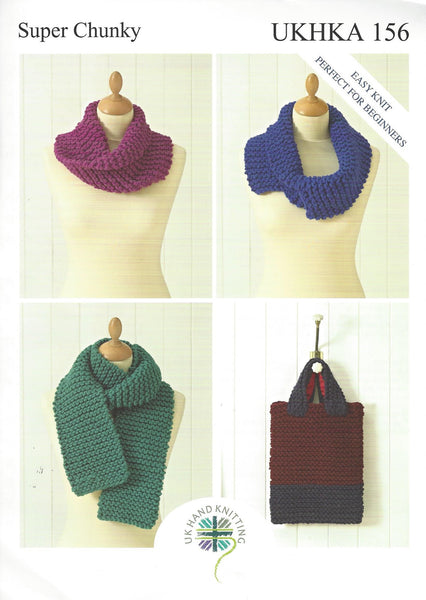UKHKA 156 - Snood, Scarf & Bag in Super Chunky Pattern - The Crafty Knitter Ltd - 1