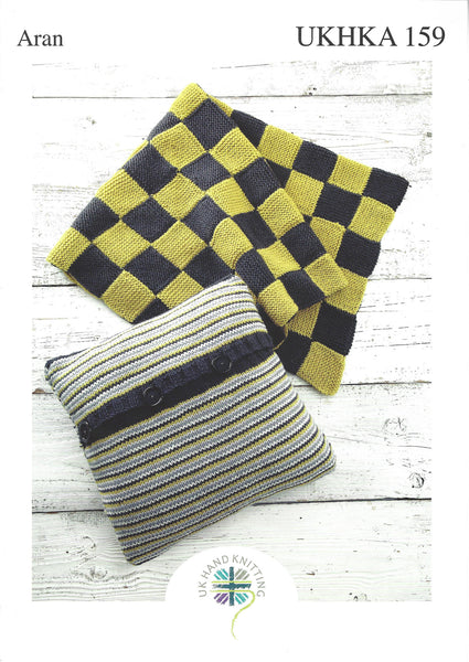UKHKA 159 - Aran Cushion Cover Pattern - The Crafty Knitter Ltd - 1