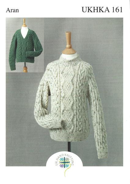 UKHKA 161 - Childrens Country Aran Sweaters Pattern - The Crafty Knitter Ltd - 1