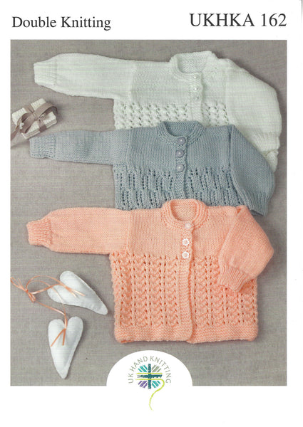 UKHKA 162 - Babies cardigans in DK Pattern - The Crafty Knitter Ltd - 1