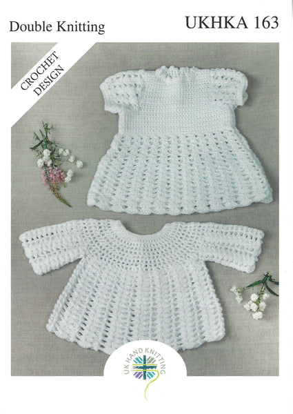 UKHKA 163 - Babies Crochet Dress & Angel Top in DK Pattern - The Crafty Knitter Ltd - 1
