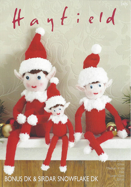 Hayfield 2475 - Christmas Elves in Bonus DK & Snowflake DK Pattern - The Crafty Knitter