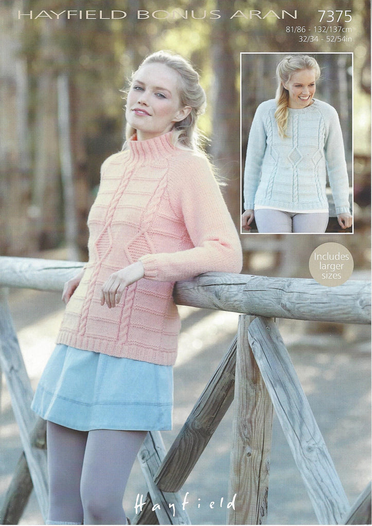 Hayfield 7375 - Ladies Roundneck & S.U.N Sweater in Hayfield Bonus Aran Pattern - The Crafty Knitter