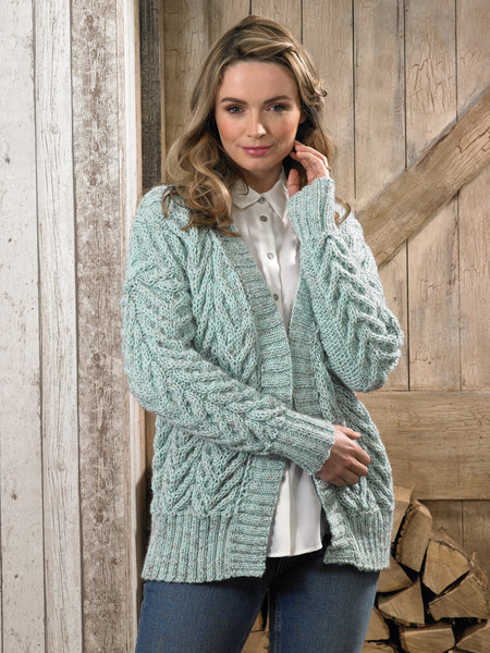 James C Brett JB624 - Ladies Cardigan in Aran Pattern