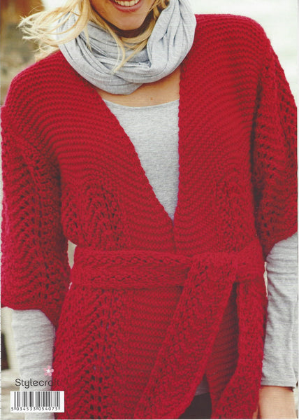 Stylecraft 9118 - Ladies Belted Cardigan in Alpaca Chunky Pattern - The Crafty Knitter